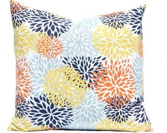 Pillow Cover - Floral Pillow Shams - Chyrsanthemum - Aqua Pillow Cover - Yellow Pillow Covers - Throw Pillow Covers - Navy Pillow