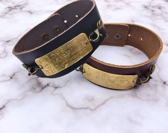 Women's Custom Stamp Brass and Leather Cuff Bracelet