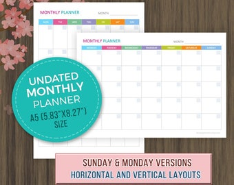 A5 Undated Monthly Planner, Printable, Monthly Calendar Template, A5 Planner Inserts, A5 Monthly Agenda, Undated Monthly Planner 2018