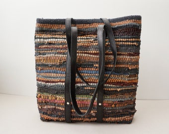 Leather-Trimmed Summer Bag / Beach Bag / Multi - Coloured Brown Woven Leather Bag / Unlined