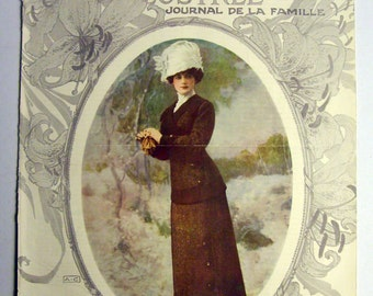 Superb Original Vintage (1910) FRENCH FASHION MAGAZINE Cover - (lot005)