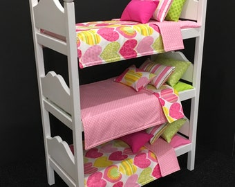 American Girl Doll: Furniture Triple Bunk Bed with pink hearts. Last one.