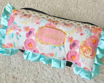 Pink Watercolor Floral Nap Mat,  Pink Nap Mat, Gold Dot Nap Mat, Mint Nap Mat, Watercolor Nap Mat, Fancy Nap Mats, Over the Top Nap Mats