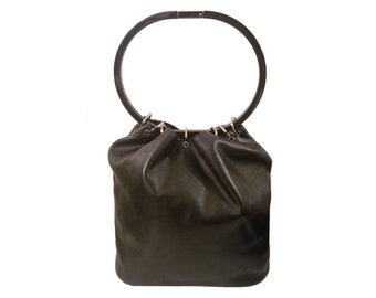 Gucci Ring Handle Bucket Bag Drawstring Tote Black Leather