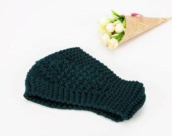 Dark Green Knit Ear Warmer - READY TO SHIP