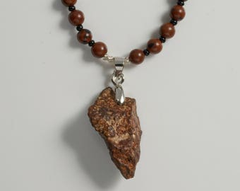 Meteorite Necklace for Men, Gift for Astronomers Meteorite Collectors and Space Fans