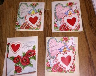 4 Valentine Cards 1950s Unused