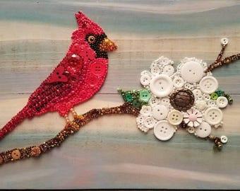 Cardinal. Bird lover. Bird gift. Cardinal lover. Cardinal gift. Dogwood. Unique. OOAK. Free Shipping. Anywhere in US. ButtonArtByCarol.