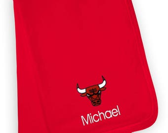 Personalized Chicago Bulls Baby Blanket Red