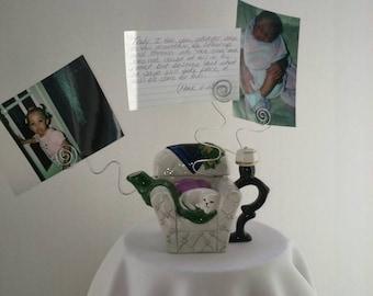 Beautiful Ceramic Wire  Photo Holder Display, Memo Holder, Message Holder, Card Holder, Scripture Holder, Wire Frame Holder