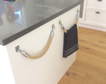 ROPE TOWEL HOLDER rack handmade Hempex rope for kitchen, bathroom, boat or outdoors undercover