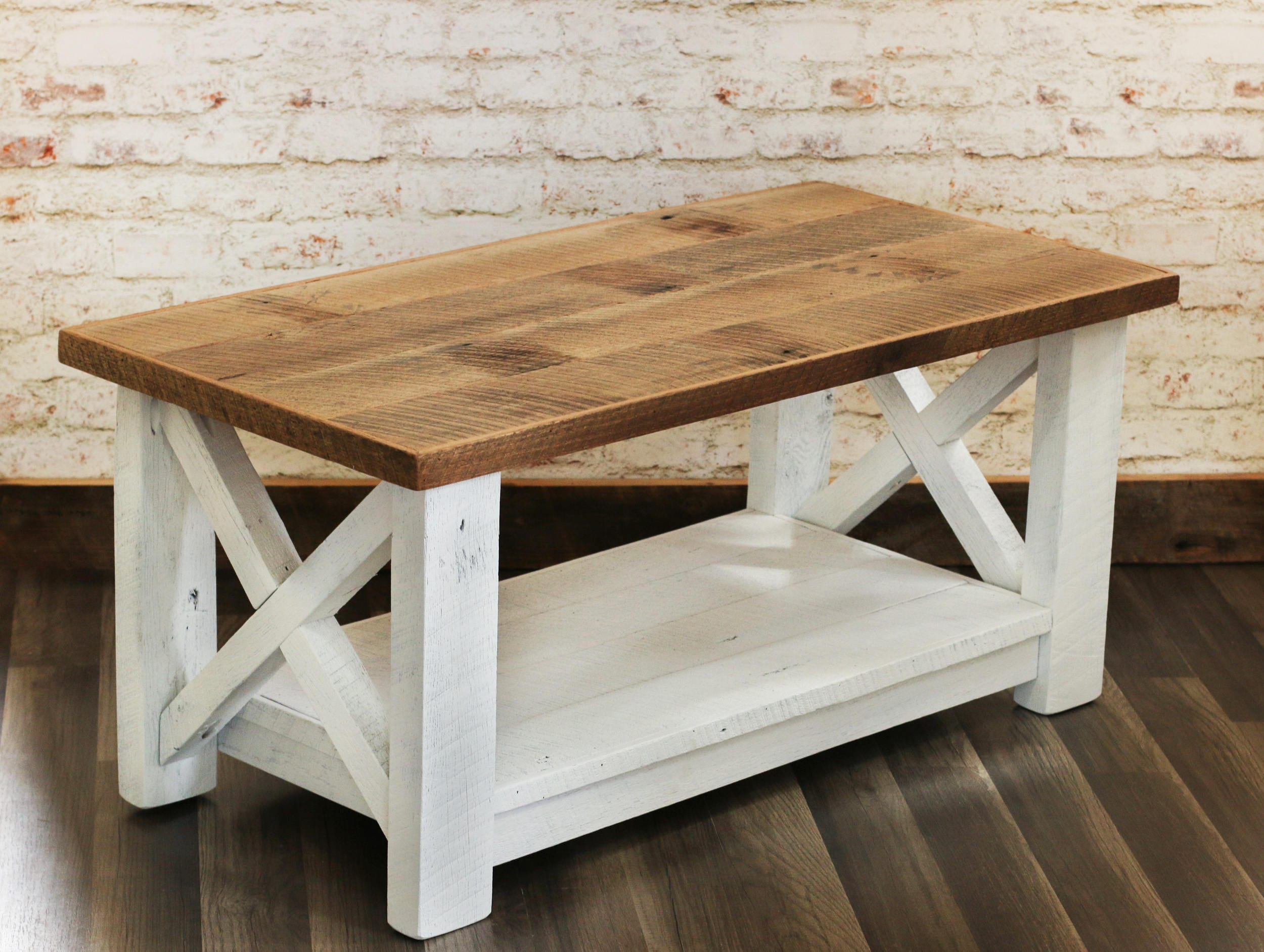 Farmhouse coffee table made from reclaimed wood x detail for Farmhouse end table set