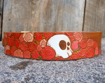 Juliette - hand carved, tooled, painted skull and roses leather dog collar