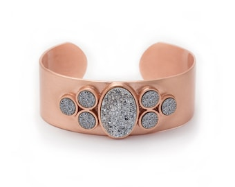 Statement Cuff - Large Druzy Cuff - Silver Druzy in Rose Gold Cuff - Statement Bracelet - Druzy / Drusy / Drusie