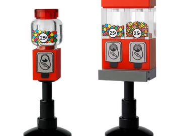 x2 Candy Machines (x1 bubble gum & x1 varied candy) made with LEGO brand parts