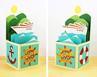 Custom Made Pop Up Card, Pop Up Cruise Ship Card, Pop Up Island Card, Pop Up Ocean Beach Card, Custom 3D Box Card, Personalized, CardBloom