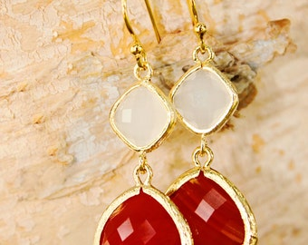Orange White Earrings Fall Earrings Crystal Drop Earrings Sunset Earrings Dangle Earrings Bridesmaid Earrings Casual Earrings Coral Earrings