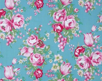 Beauty Queen Fabric Jennifer Paganelli Melody Blue Floral Rose Cotton