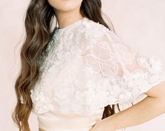 Ivory beaded lace wedding cape 'IRIS'-wedding cape-bridal separates-two piece wedding dress-Ivory 3d flowers bridal top