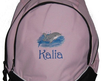 FREE SHIPPING - Dolphin Personalized Monogrammed Backpack Book Bag school tote  - NEW