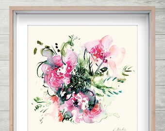Holiday, bright pink watercolor flower art, colorful floral print, abstract flower fine art artwork, emotional art