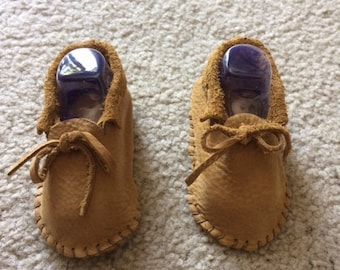 Traditional Leather Baby Fold-Over Moccasins