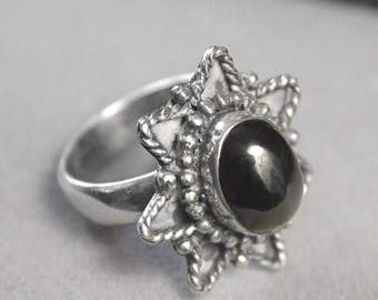 Vintage Mystic Black Garnet Melanite Gemstone Sterling Silver Ring Size 6.25 r5