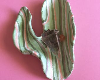 Cactus trinket striped dish