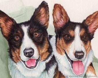 CUSTOM Watercolor Painting, Custom Original, Custom Pet Portrait, Made-to-Order Original Watercolor Painting (2 Animals) Dog Cat Bird, Corgi