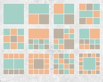 """Guión gráfico, plantillas, plantillas de tablero de Blog, plantillas Collage Digital, Foto Collage plantillas - 12 """"x 12"""" - S201"""