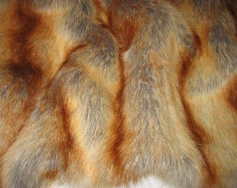 Luxurious RED FOX faux fur fabric, very soft,deep pile, sold by yard