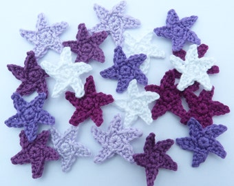 Crochet applique, crochet stars. 20 small applique stars, cardmaking, scrapbooking,  appliques, handmade and sew on patches embellishments
