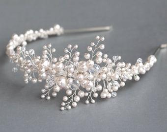 Bride headband, Pearl Bridal headband, Pearl vine, headband, Bridal halo, Swarovski Pearl hair vine, Bride hair accessories, Swarovski pearl