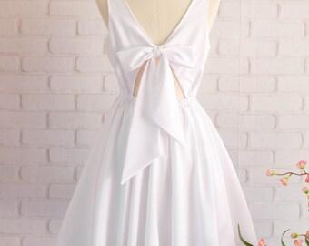 White bridesmaid dress white prom dress bow back party dress cocktail dress white short bridesmaid dress summer sundress overall dress