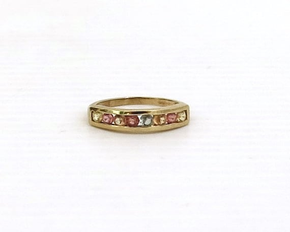 Vintage multi-colored sapphire band ring, 9 carat gold, stackable ring, channel setting, rainbow ring, size 5.25 / K