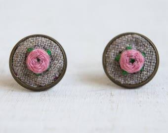 Peony earrings studs embroidery earrings Pink flowers earrings peony jewelry pink peony earrings studs embroidery peony flower blossom studs