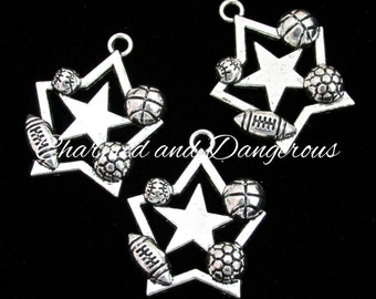 10 pewter All Star Sports charms (CM61 & 62)
