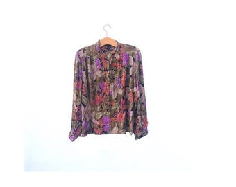80's Blouse | Abstract | Grunge | Floral
