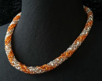 Glass - orange Crystal beads necklace