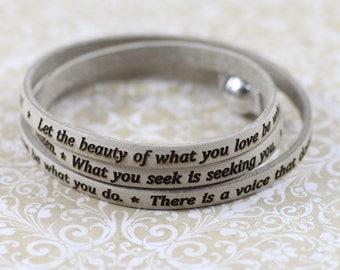 Rumi Leather Bracelet, Inspirational quotes bracelet, Spiritual jewelry
