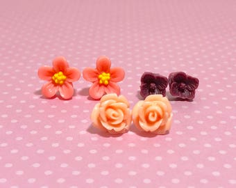 Flower Stud Earring Set with Peach Daisies, Brown Red Flower and Light Salmon Pink Carved Roses, Surgical Steel Posts