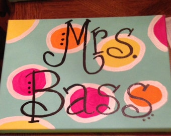 Personalized Painted Canvases for Teachers and Classrooms 11x14 size