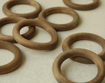 Madera de nogal antigua cortina tapices anillos set de 8