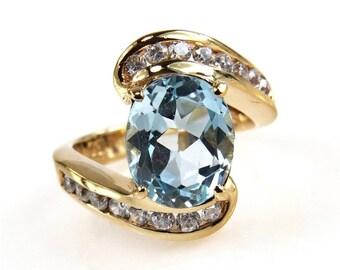 Bold Blue Topaz Vermeil Statement Ring  Size 5.75 US