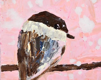 Chickadee Bird Painting Print. Pink Cottage Chic Decor. Animal Portrait Art. Home Wall Prints. 105