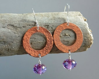 Hand Cut and Hammered Copper Washer Earrings With Purple Glass Beads, Hammered Copper, Dangle Earrings, Czech Glass, Sterling Silver