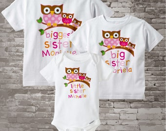 Big Sister Little Sister Outfits, Biggest Sister, Big Sister, and Little Sister Outfits, Personalized Owl Outfits Set of Three 02242012a