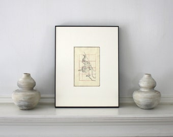 Rare Antique Asian Woodblock Print Framed 11 x 14 inches
