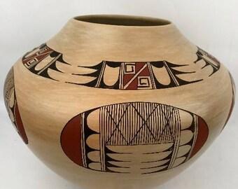 Native American, Vintage Hopi Poly Chrome Pottery Bowl, by Fawn Garcia Navasie, Ca 1980's   #1306