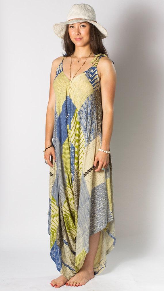 14008b4248 Wide Leg Womens Gypsy Long Jumpsuit Dress in Blue Green